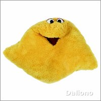 Living Puppets kissing pillow yellow